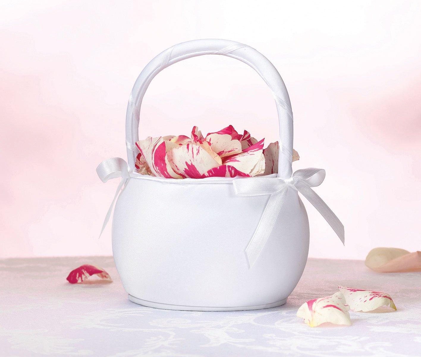 Amazon lillian rose round satin flower girl basket white home amazon lillian rose round satin flower girl basket white home kitchen izmirmasajfo