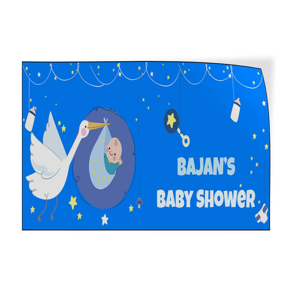 Custom Door Decals Vinyl Stickers Multiple Sizes Boy Name Baby Shower Bird Lifestyle Baby Shower Signs Outdoor Luggage /& Bumper Stickers for Cars Light-Blue 72X48Inches Set of 2