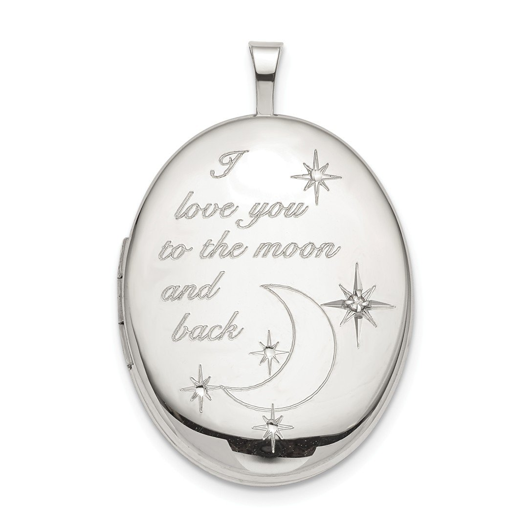 ICE CARATS 925 Sterling Silver 20mm Love To The Moon Diamond Oval Photo Pendant Charm Locket Chain Necklace That Holds Pictures Fine Jewelry Ideal Gifts For Women Gift Set From Heart