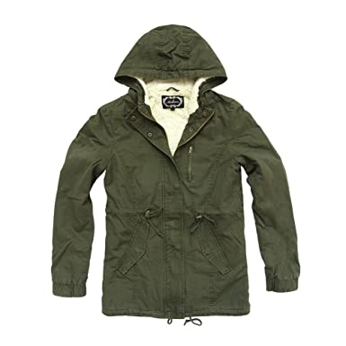 Women's Military Army Hooded Sherpa Lining Drawstring Parka Jacket ...