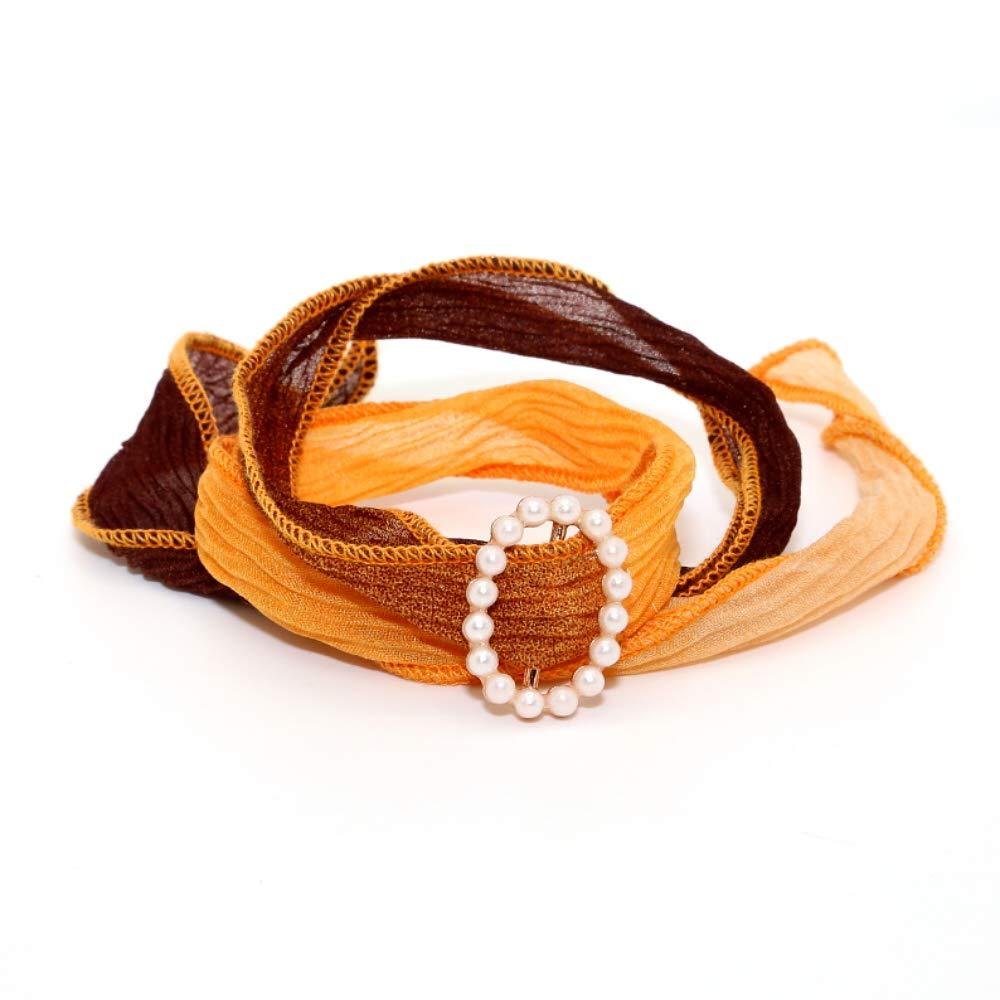 SeaPink Bracelet Silk Wrap Band Cuff,Boho Style Colourful Bracelet with White Beads,3 Wraps(Sunset Orange)