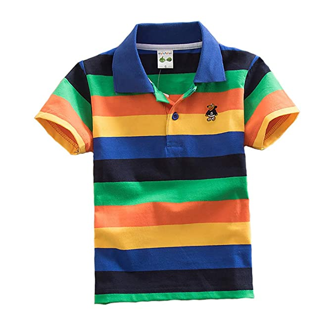 Coralup Kids Boys Short Sleeve Polo Shirt Summer Stripe T Shirt Lapel Cotton Tops for Children 7 Colors 3 14 Years