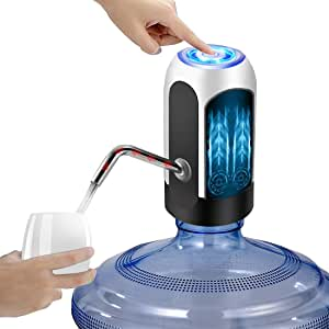 YOMYM Automatic Water Dispenser, USB Rechargeable Bottle Drinking Water Radio Water Pump