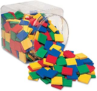 Learning Resources Square Color Tiles, Counting, Sorting Toy, Set of 400 in 6 Colors, Ages 3+
