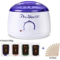Wax Warmer, Electric Mini Hair Removal wax kit with 4 Packs Hard Wax Beans and 20pcs Spatulas for Feet & Hands & facial Wax Bean Melting pot Heater for Men & women