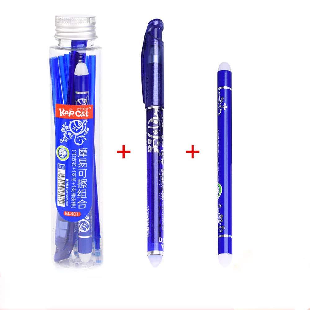 Lomsarsh Neuer l/öschbarer Stift 0,5 mm Gelstift B/ürobedarf Student Entfernte Reibung Porzellan Erasable Blue Refill