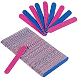 Faburo 100 Pcs Disposable Nail File, Double Sided Emery Board, Nail Buffering Files for Home and Salon Use