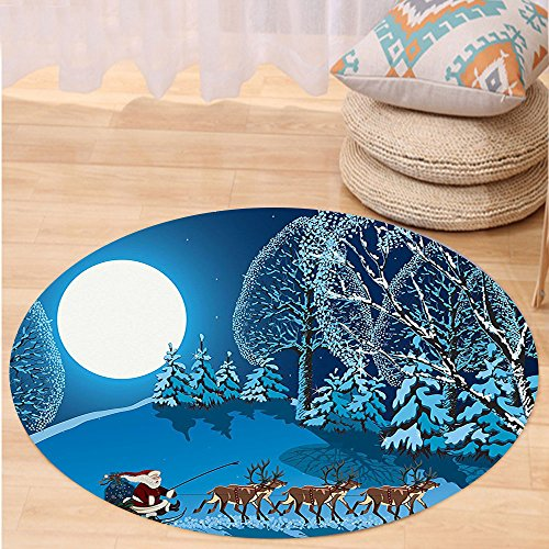 VROSELV Custom carpetChristmas Decorations Collection Santa in Sleigh a Holy Night with Full Moon Snowy Winter Theme Night Before Xmas Bedroom Living Room Dorm Navy Blue Round 79 inches by VROSELV