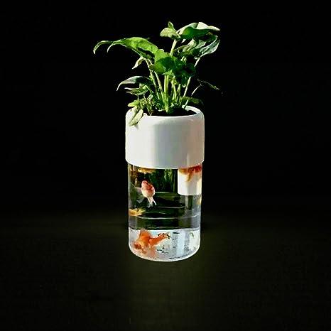 Smart acrílico acuaponia Acuario, Goldfish Bowl autolimpieza peces tanque con filtro y luz LED y