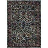 Super Area Rugs Faded Traditional Border Rug, Blue Stain-Resistant Premium Non-Shed Carpet Mat For Living Room, 8′ 6″ X 11′ 7″ Review