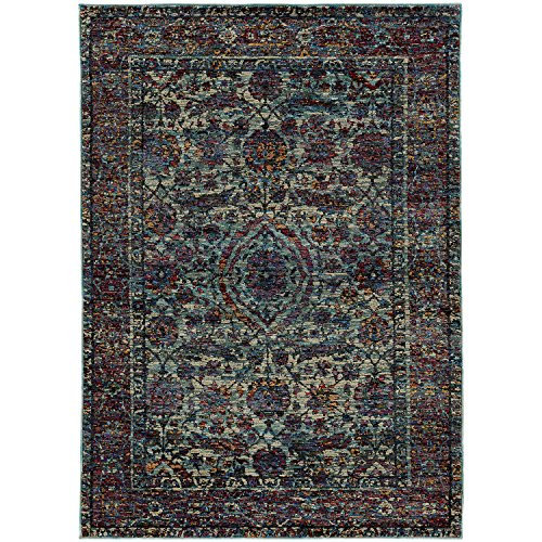 Super Area Rugs Faded Traditional Border Rug, Blue Stain-Resistant Premium Non-Shed Carpet for Hallway Bedside, 2′ 3″ X 8′ 0″
