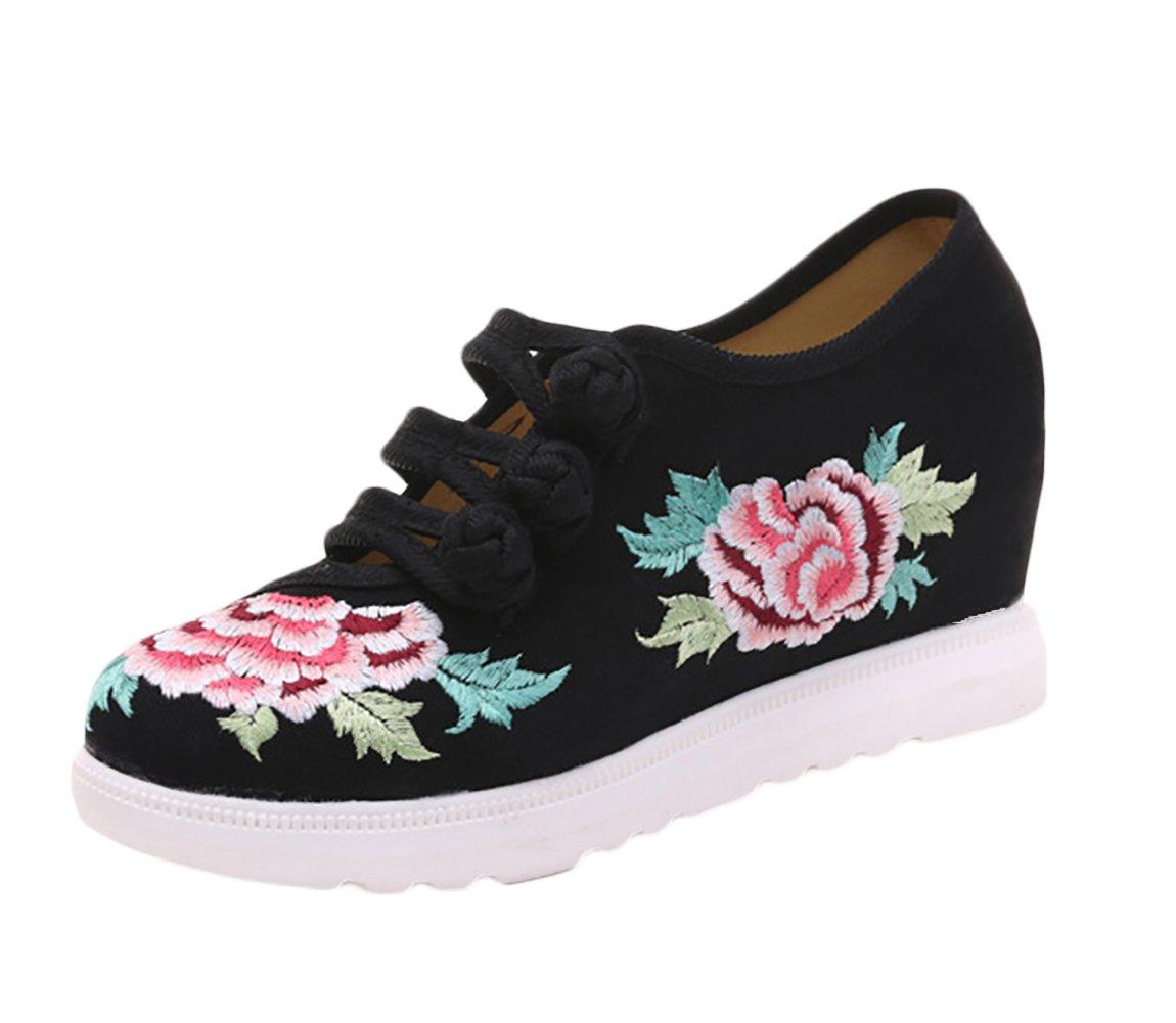 Insun Zapatos Para Mujer Diseño Bordado Alpargatas Para Mujer Mary Jane 37 EU|Negro
