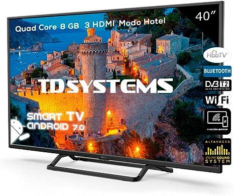 Televisor Led 40 Pulgadas Full HD Smart, TD Systems K40DLX9FS. Resolución 1920 x 1080, 3X HDMI, VGA, 2X USB, Smart TV.: Amazon.es: Electrónica