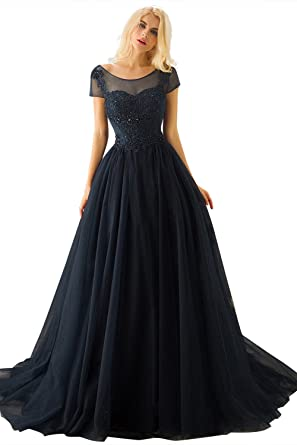 Huifany Womens Long Evening Dresses Short Sleeves Lace Prom Dress Navy Blue,2