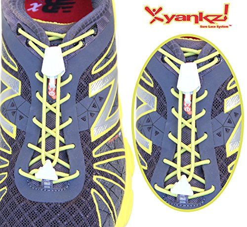 Yankz Sure Lace Round Elastic Shoe Laces Yellow With White