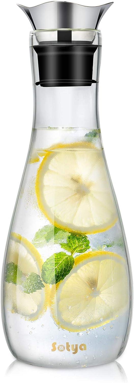 susteas 1,3 litros Jarra de Cristal sin Goteo con Tapa, Jarra de Zumo, Jarra Agua Cristal para Bebidas caseras, té Helado, Leche, café, Vino