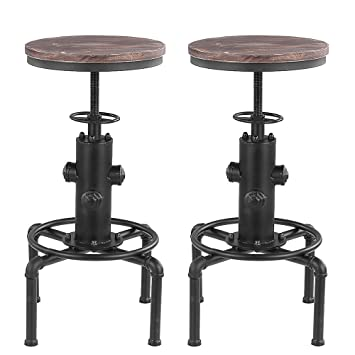 Lot De 2 Tabourets De Bar De Style Industriel En Bois Reglable En