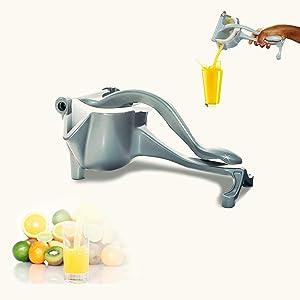 Manual Fruit Juicer – Fruit Squeezer – Heavy-Duty Aluminum Fruit Presser for Lemon, Oranges, Lime, Pomegranate and Apple – Hand Fruit Squeezer for Natural Juice – Sturdy and Durable Design