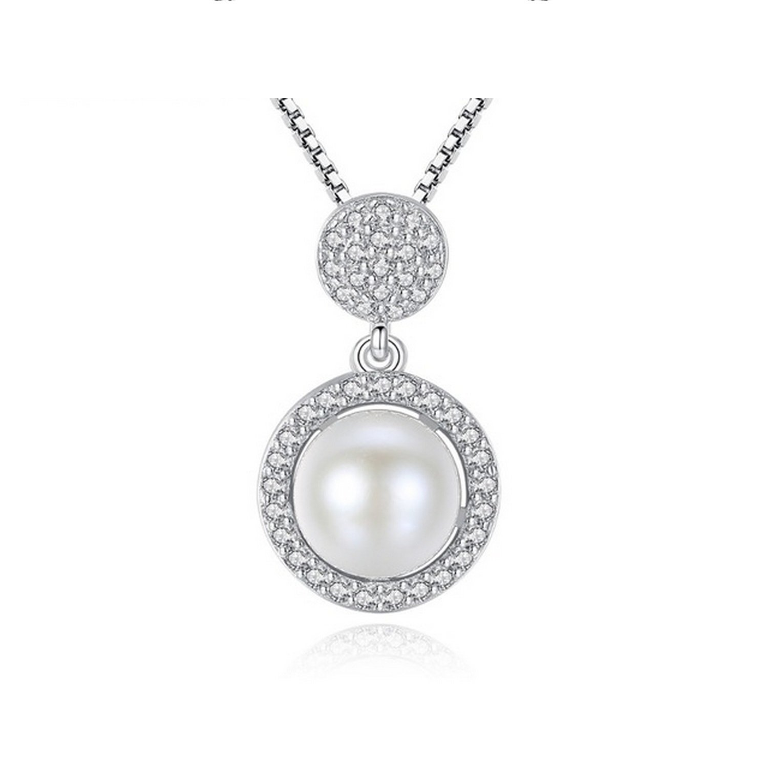 CS-DB Jewelry Silver Jewelry Fashion White Pearl Chain Charm Pendants Necklaces
