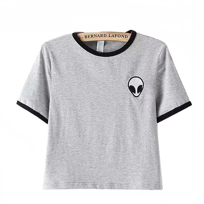 Dorathy women Embroidery Design Aliens Crop top Teenagers camiseta t shirt, S