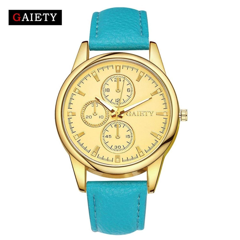 レディースシンプル腕時計、Sinmaカジュアルゴールドダイヤルフレーム腕時計アナログクォーツレザー腕時計 スカイブルー B0725PN2T1スカイブルー
