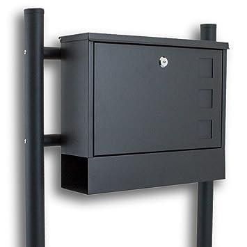 Bituxx Doppel Standbriefkasten Briefkasten freistehend Zeitungsfach Dunkelgrau