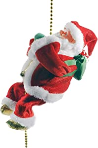 changsha Electric Santa Claus Climbing Rope Decoration, Christmas Climbing Santa Plush Doll Toy with Christmas Music for Christmas Tree Ornament Xmas Party Home Door Wall Decoration