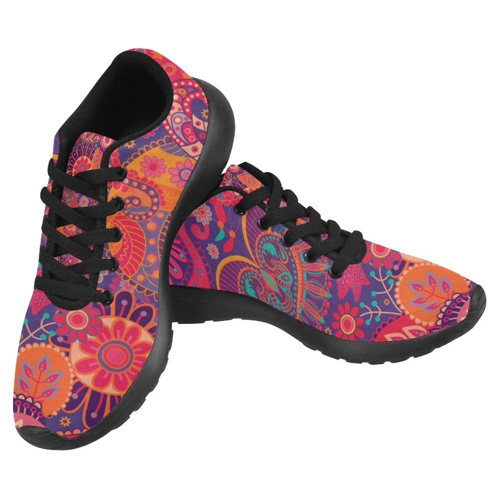 InterestPrint Women's Jogging Running Sneaker Size 10 Bright Seamless in Paisley Style