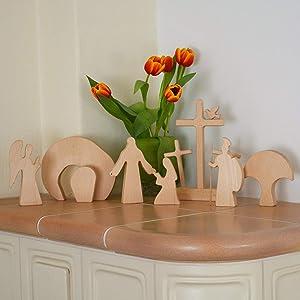 Celendi Easter Resurrection Scene Set Wood Easter Scene Wooden Decoration Wooden Nativity Set Christian Decor Handcrafted Wooden Cross Holy Week Set Easter Table Ornament Crafts