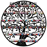 MyGift Ornate Bird & Tree Design Black Metal Wall Mounted 6-Tier Large Nail Polish Rack/Organizer Display