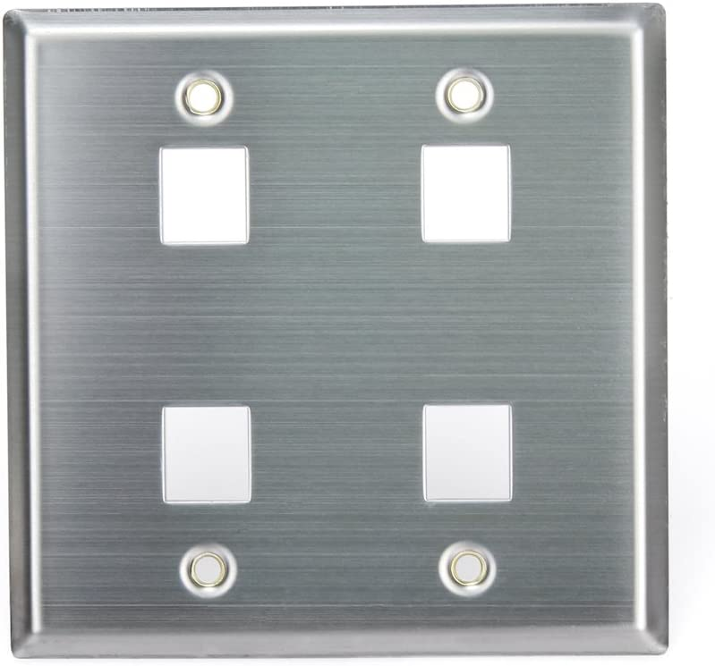 Stainless Steel Leviton 43080-2S6 QuickPort Wallplate 6-Port Dual Gang