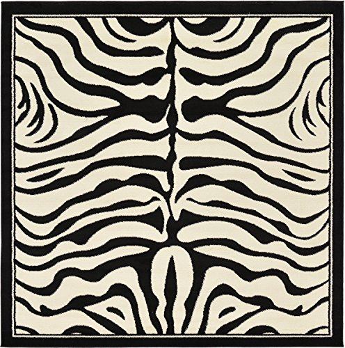 Unique Loom Wildlife Collection Zebra Border Animal Print Beige Square Rug (6
