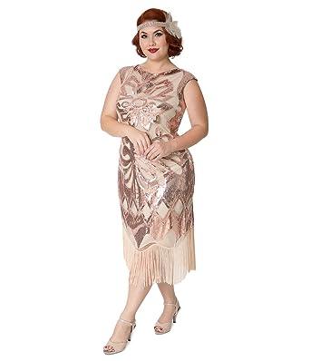 Unique Vintage Plus Size 1920s Style Beige Rose Gold Sequin Edwige