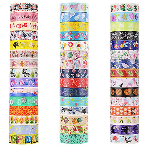 45 Rolls Washi Tape, Decorative Adhesive Washi Masking Tapes Sticker for Scrapbooking DIY Crafts and Gift Wrapping