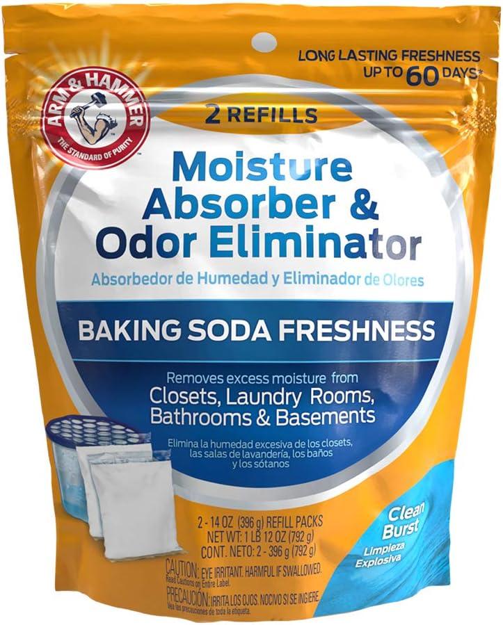 Arm & Hammer Clean Burst Moisture Absorber and Odor Eliminator Refill, 2 Pack, 14 Oz. Each, 28 Ounces