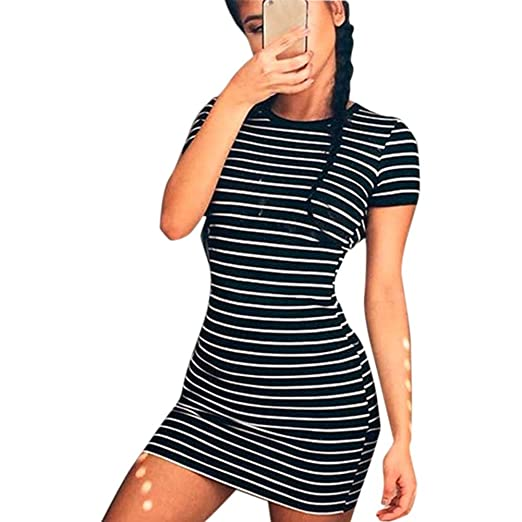 bdb486cfb3 Shouhengda Women Casual Short Mini Dress Cocktail Party Evening Bodycon  Striped Summer Dress (US XS