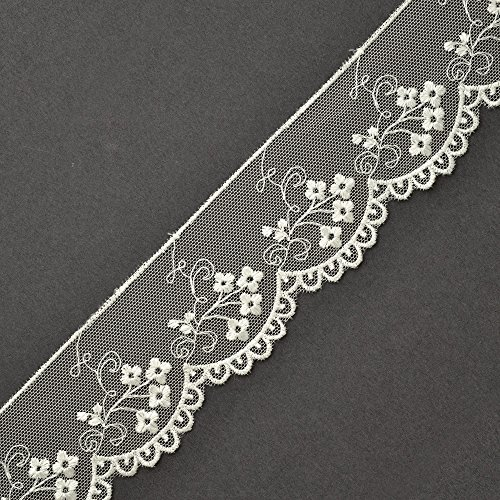Ivory Flower Embroidered Tulle lace Trim, 1-3/4 Inch by 1 Yard, STEP-3849