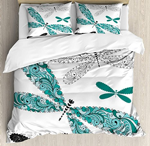 USOPHIA Dragonfly 4 Pieces Bed Sheets Set Full Size, Ornamental Dragonfly Figures with Lace and Damask Effects Artsy Image Floral Duvet Cover Set, Teal Turquoise Black