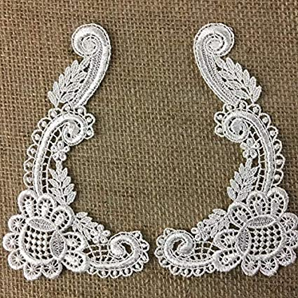 Venise Lace Beaded Applique White  Crafts//Sewing//Costume//Victorian//Bridal