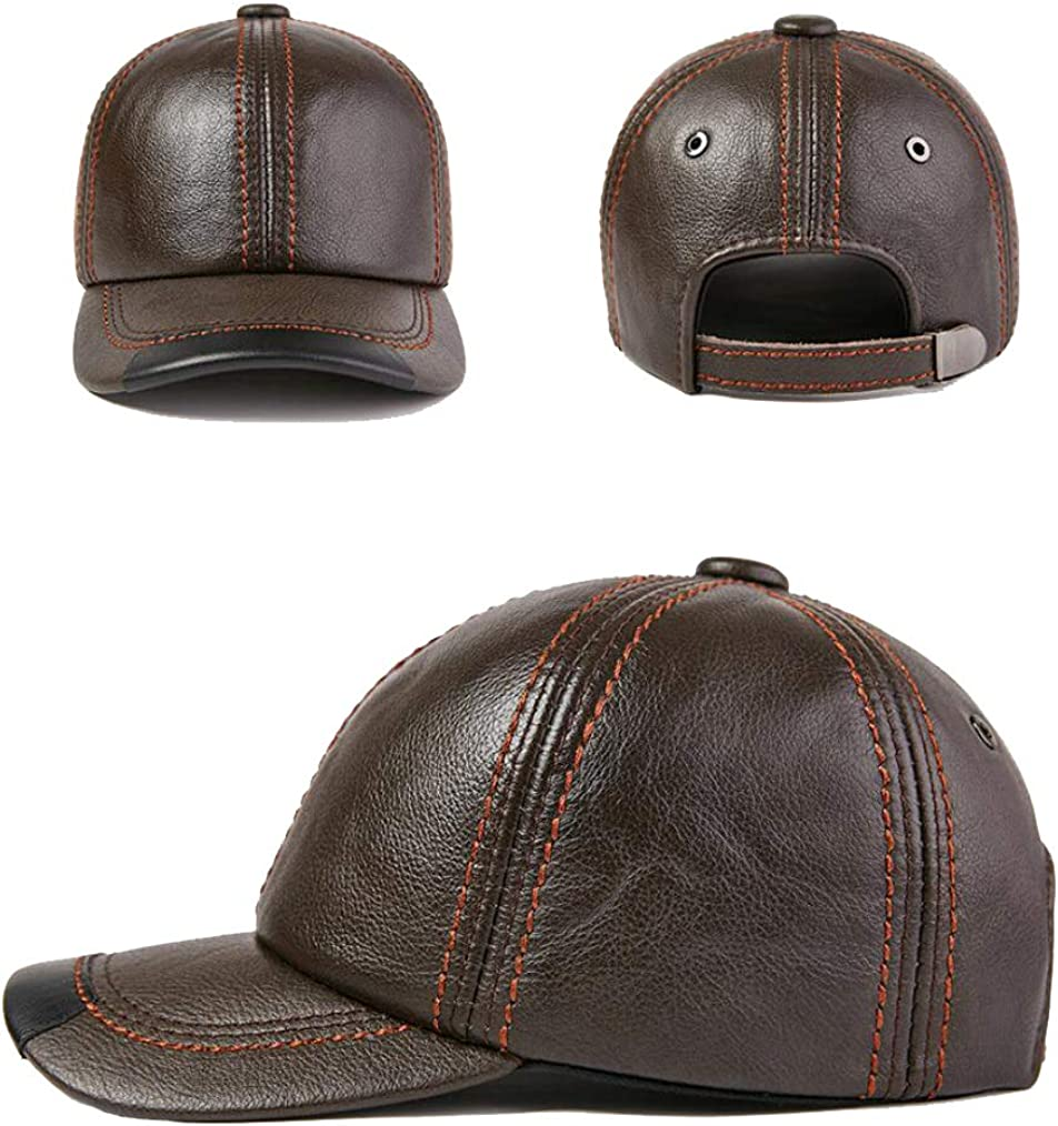 Xinqiao Mens Genuine Cowhide Leather Baseball Cap Adjustable Outdoor Dad Hats