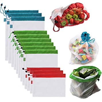 OUNONA Bolsas Compra Reutilizables Ecológicas Bolsa de Malla para Almacenamiento Fruta Verduras Juguetes Lavable y Transpirable 3 Diversos Tamaños 12 ...