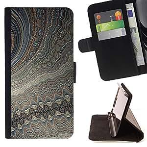 GIFT CHOICE / Billetera de cuero Estuche protector Cáscara Funda Caja de la carpeta Cubierta Caso / Wallet Case for Apple Iphone 5 / 5S // Cool Fractal Digital Pattern //