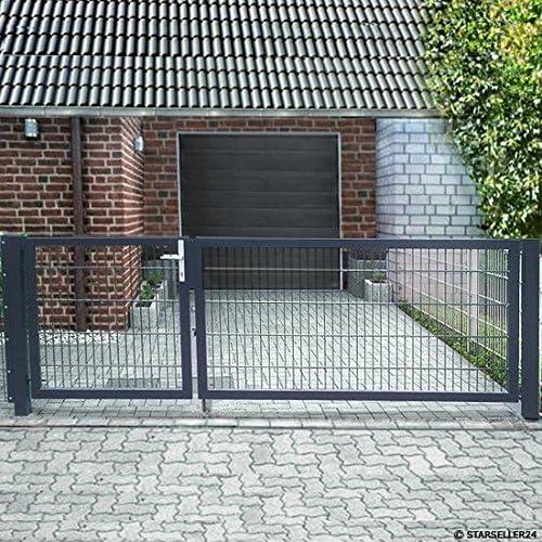 Einfahrtstor 300cm x 143cm 2-fl/ügelig asymmetrisch Grau Anthrazit Tor Hoftor Doppeltor Gartentor Auffahrtstor Doppelfl/ügeltor inkl Pfosten NEU