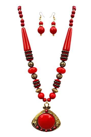 Buy batu lee multi color handicraft ethnic brass pendantbeads buy batu lee multi color handicraft ethnic brass pendantbeads necklace set with earrings for womengirls red online at low prices in india amazon aloadofball Gallery