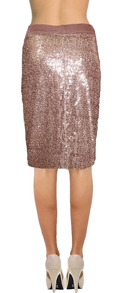 d730c51b Ooh La La Womens Fully Lined Sequin Pencil Skirt w Soft Stretch Waistband  at Amazon Women's Clothing store: