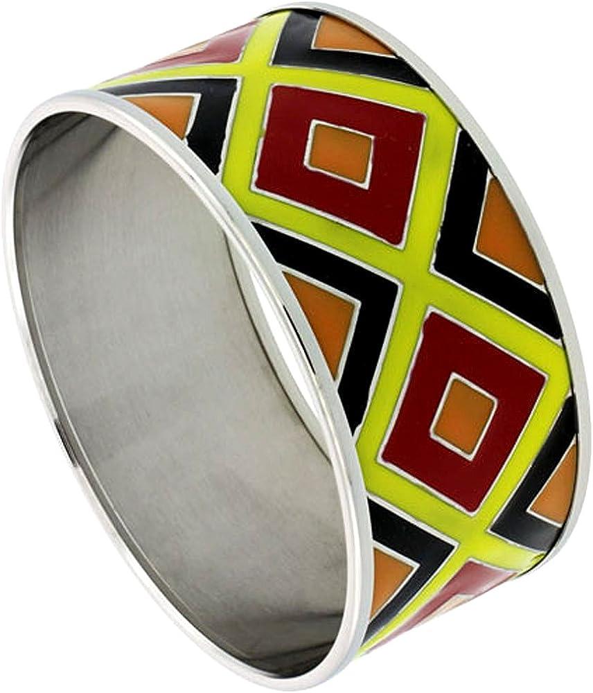Sabrina Silver Stainless Steel Bangle Bracelet Wide Multicolor Enameled Argyle Pattern 1 3//16 inch Wide