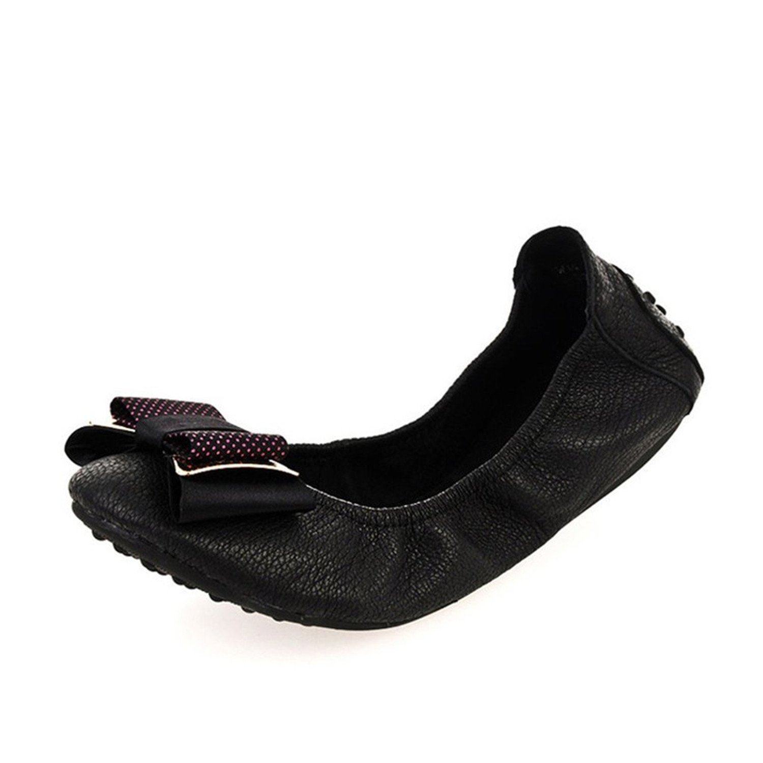 Also Easy Stylish Womens Soft Bow Leather Fashion Ballet Flats Black6.5 B US Unique Style M