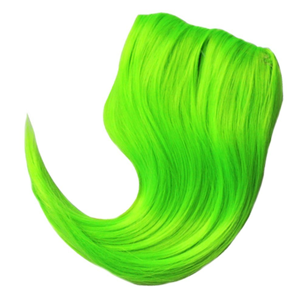 TEEMI-Bangs Natural Flat Bangs One Piece Clip in Fringe Hair Extensions for Women 20 Colors (Green)