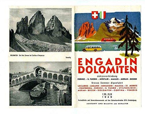 Engadin Dolomiten 1949 Locarno to Venice Bus Brochure with Map