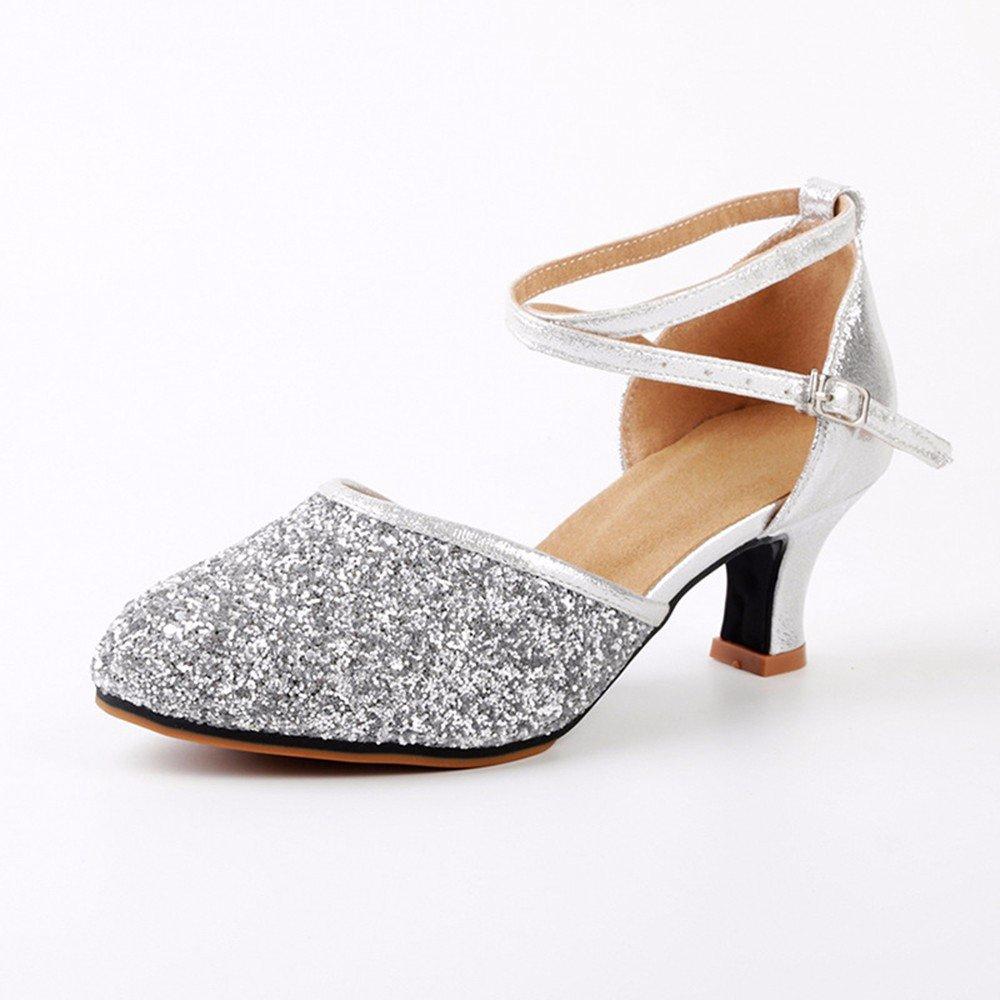 argent US8 EU39 UK6 CN39 Masocking@ Femme Chaussures de Danse Sandales Boucle de sol en caoutchouc voitureré
